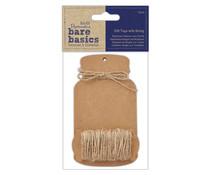 Papermania Bare Basics Gift Tags with String Large Bottle (12pcs) (PMA 174328)