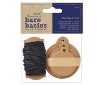 Papermania Bare Basics Kraft Tags & Cord (30pcs) (PMA 174325)