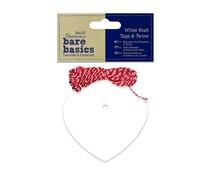 Papermania Bare Basics White Kraft Tags & Twine Hearts (20pcs) (PMA 174307)