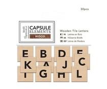 Papermania Capsule Elements Wood Wooden Tile Letters (30pcs) (PMA 174669)