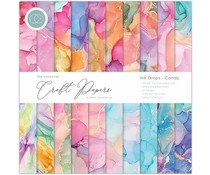 Craft Consortium Essential Craft Papers 12x12 Inch Paper Pad Ink Drops Candy (CCEPAD016)