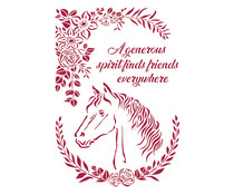 Stamperia Stencil A4 Romantic Horses Horse with Flowers (KSG471)