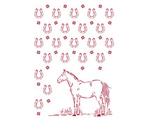 Stamperia Stencil A4 Romantic Horses Horseshoes Pattern (KSG468)