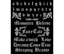 Stamperia Thick Stencil 20x25cm Sleeping Beauty Alphabet and Quotes (KSTD076)