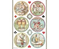 Stamperia Rice Paper A4 Alice Rounds (6 pcs) (DFSA4606)
