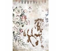 Stamperia Rice Paper A4 Romantic Horses Running Horse (6 pcs) (DFSA4579)