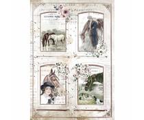 Stamperia Rice Paper A4 Romantic Horses 4 Frames (6 pcs) (DFSA4581)