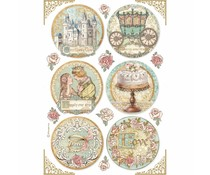 Stamperia Rice Paper A4 Sleeping Beauty Rounds (6 pcs) (DFSA4576)