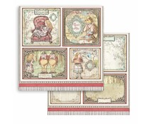 Stamperia Alice 4 Cards 12x12 Inch Paper Sheets (10pcs) (SBB817)