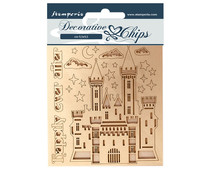Stamperia Decorative Chips Sleeping Beauty Castle (SCB58)