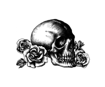 Crafty Individuals Skull n Roses Unmounted Rubber Stamps (CI-529)