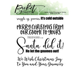 Picket Fence Studios A Gnome Christmas 4x4 Inch Clear Stamps (C-126)