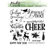 Picket Fence Studios Joyeux Noel 6x6 Inch Clear Stamps (C-129)