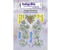 IndigoBlu Happy Holidays A6 Rubber Stamps (IND0814)