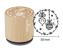Woodies Christmas Ball Rubber Stamp (W21008)