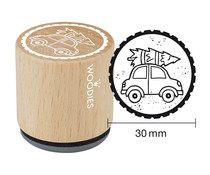 Woodies Car with Christmas Tree Rubber Stamp (W21001)