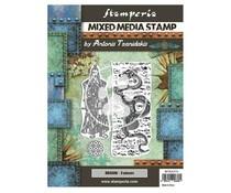 Stamperia Mixed Media Stamp Sir Vagabond in Japan Dragon (WTKAT23)