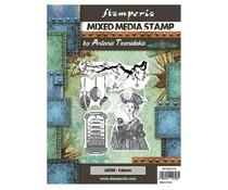 Stamperia Mixed Media Stamp Sir Vagabond in Japan Lantern (WTKAT22)