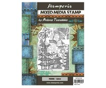 Stamperia Mixed Media Stamp Sir Vagabond in Japan Pagoda (WTKAT20)