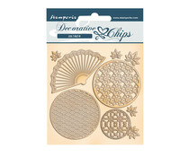 Stamperia Decorative Chips Sir Vagabond in Japan Fan and Circles (SCB92)