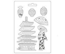 Stamperia Soft Mould A4 Sir Vagabond in Japan Pagoda (K3PTA4509)