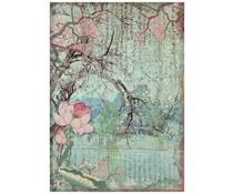 Stamperia Rice Paper A4 Sir Vagabond in Japan Oriental Tree (6 pcs) (DFSA4607)