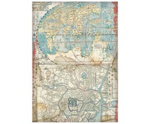 Stamperia Rice Paper A4 Sir Vagabond in Japan Map (6 pcs) (DFSA4610)