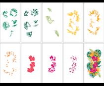 LDRS Creative Tropical Floral Slim Line Layering Stencils (9pcs) (LDRS5205)