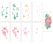 LDRS Creative Garden Grandeur Slim Line Layering Stencils (8pcs) (LDRS5204)