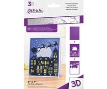 Gemini Over the Rooftops 3D Embossing Folder & Stencil (GEM-EF5-3D-OTRT)