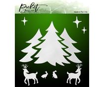 Picket Fence Studios A Winter Scene 6x6 Inch Stencil (SC-255)