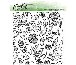 Picket Fence Studios A Medley of Fall Collage 4x4 Inch Clear Stamps (BB-167)