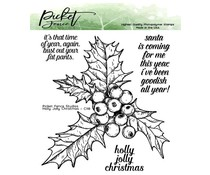 Picket Fence Studios Holly Jolly Christmas 4x4 Inch Clear Stamps (C-118)
