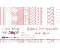 Papers For You Basicos Imprescindibles Rosa Bebe Canvas Scrap Pack (10 pcs) (PFY-3929)
