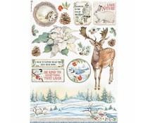 Stamperia Rice Paper A4 Winter Tales Poinsettia (6pcs) (DFSA4585)