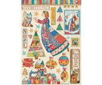 Stamperia Rice Paper A4 Christmas Patchwork Elements (6pcs) (DFSA4587)