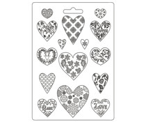 Stamperia Soft Mould A4 Christmas Patchwork Hearts (K3PTA4501)