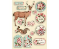 Stamperia Colored Wooden Shapes A5 Pink  Christmas (KLSP109)