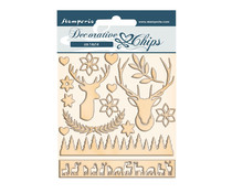 Stamperia Pink Christmas Deer Decorative Chips (SCB67)