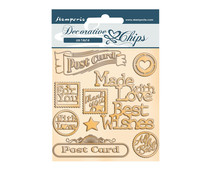 Stamperia Romantic Christmas Post Card Decorative Chips (SCB73)