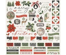 Simple Stories Simple Vintage Rustic Christmas 12x12 Inch Cardstock Stickers (16001)