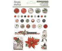Simple Stories Simple Vintage Rustic Christmas Decorative Brads (16027)
