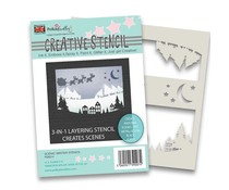 Polkadoodles Scenic Christmas Stencil (PD8214)