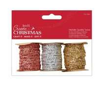 Papermania Create Christmas Metallic Sparkly Twine (3pcs) (PMA 171907)