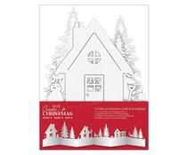 Papermania Create Christmas Card & Envelope Die-cut Scene White Kraft (3pcs) (PMA 150926)