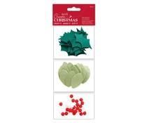 Papermania Create Christmas Felt Leaves and Berries (80pcs) (PMA 358114)