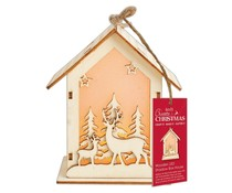 Papermania Create Christmas Wooden LED Shadow Box House 2 Stags (PMA 174953)