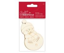 Papermania Create Christmas Etched Wooden Tags Snowman (4pcs) (PMA 359913)