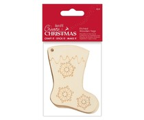 Papermania Create Christmas Etched Wooden Tags Stocking (4pcs) (PMA 359915)