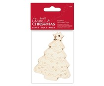Papermania Create Christmas Etched Wooden Tags Tree (4pcs) (PMA 359914)